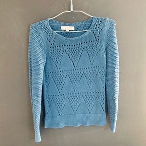 LOFT by Ann Taylor- Blue knit sweater SMALL